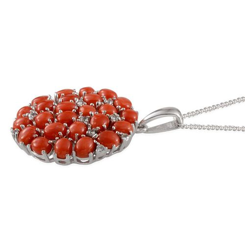 Natural Mediterranean Coral (Ovl), White Topaz Pendant with Chain in Platinum Overlay Sterling Silver 7.400 Ct.