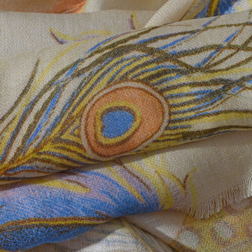 100% Modal Cream and Multi Colour Feather Digital Printed Scarf (Size 200x70 Cm)