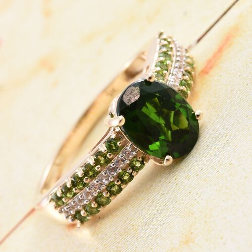 9K Yellow Gold Russian Diopside (Ovl 1.90 Ct), Natural Cambodian Zircon Ring 2.500 Ct.