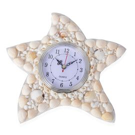 Hand Crafted Natural White Shell Decorated Wall Clock (Size 25x25 Cm) - Star Fish