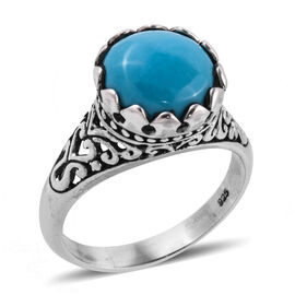 Royal Bali Collection Arizona Sleeping Beauty Turquoise (Rnd 12 mm) Solitaire Ring in Sterling Silve