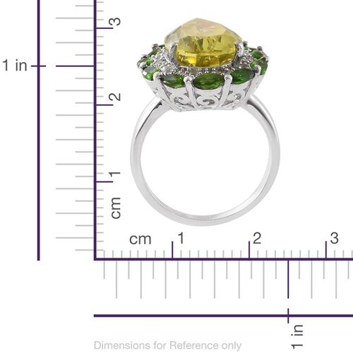 Brazilian Green Gold Quartz (Pear 13.00 Ct), Russian Diopside and Natural Cambodian Zircon Ring in Platinum Overlay Sterling Silver 15.750 Ct., Silver wt 8.69 Gms.