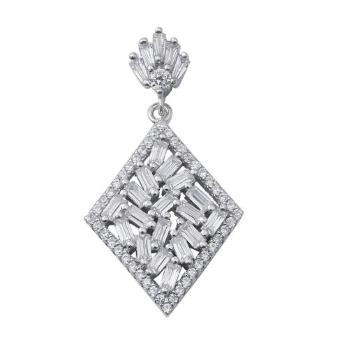 ELANZA Simulated Diamond (Bgt) Rhombus Pendant in Rhodium Overlay Sterling Silver