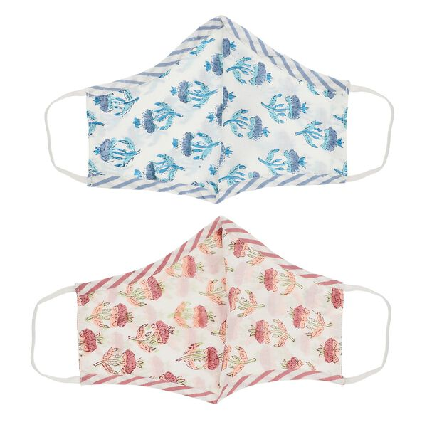 2 Piece Set - 100% Cotton Hand Block Print Double Layer Reusable Face Cover - White, Red and Blue