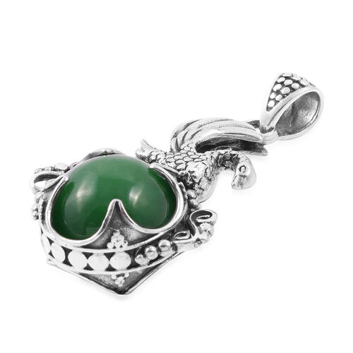 Royal Bali Collection Green Jade (Rnd) Swan Filigree Pendant in Sterling Silver 34.650 Ct