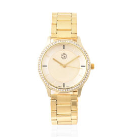 STRADA Japanese Movement White Austrian Studded Water Resistant Watch with Chain Strap in Yellow Gol