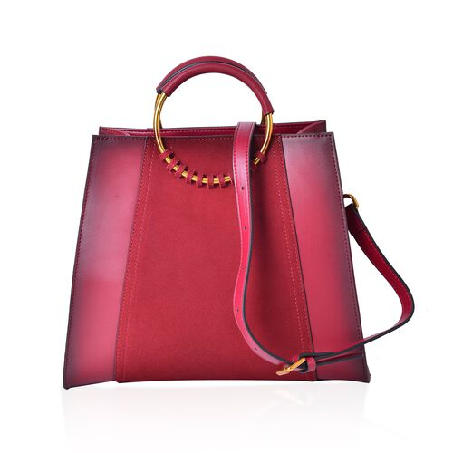 100% Genuine Leather Burgundy Colour Tote Bag with Round Metallic Handle and Adjustable and Removable Shoulder Strap (Size 30X25.5X12.5 Cm)