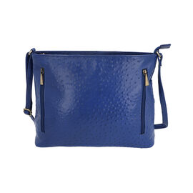 Midnight Mega Deal- 100% Genuine Leather Ostrich Embossed Crossbody Bag (Size 32x25.4x12 Cm) - Blue