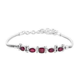 Hand Made 3.85ct African Ruby Bracelet (Size 7 with 2 inch Extender) in Sterling Silver ,Silver wt 9.34 Gms