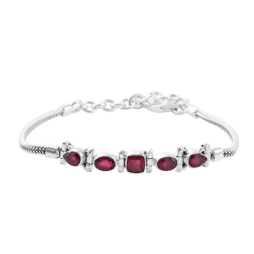 3.85 Ct African Ruby Bolo Bracelet in Sterling Silver 9.34 Grams