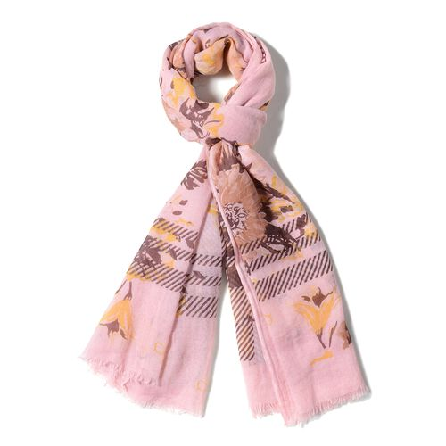 Pink and Multi Colour Flower and Stripe Pattern Scarf (Size 200x90 Cm)