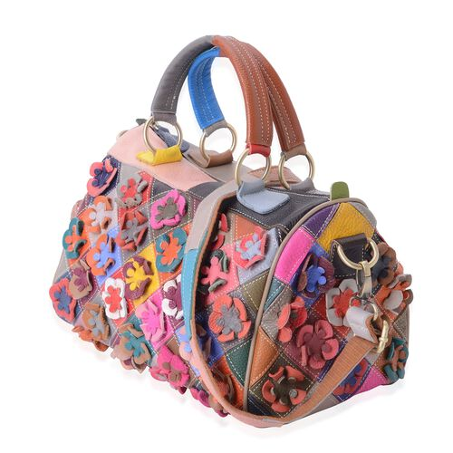 100% Genuine Leather Multi Colour 3D Flower Adorned Tote Bag with Shoulder Strap (Size 29x21x18 Cm)