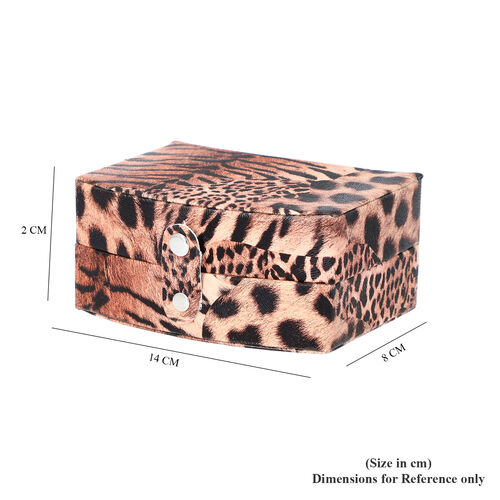 Brown Leopard Pattern Jewellery Box with Button Clasp Lock (12x9x6.1cm)