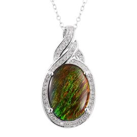 AA Canadian Ammolite (Ovl 16x12 mm), Natural White Cambodian Zircon Pendant with Chain in Rhodium Overlay Sterling Silver.