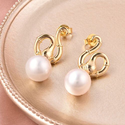 Edison Pearl Snake Earrings in Yellow Gold Overlay Sterling Silver