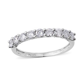 14K White Gold (I1-I2/G-H) Diamond (Rnd) Half Eternity Band Ring 0.750 Ct.