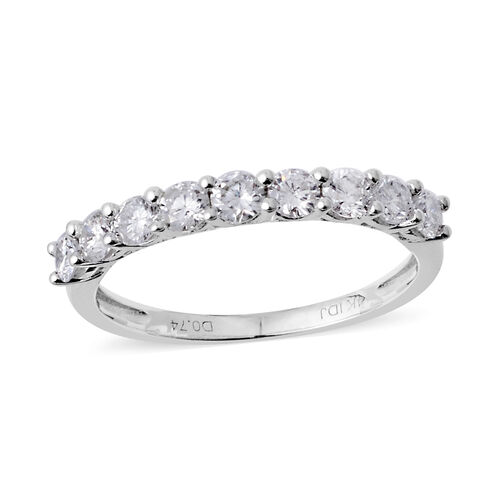14K White Gold (I1-I2/G-H) Diamond (Rnd) Half Eternity Band Ring 0.750 Ct.