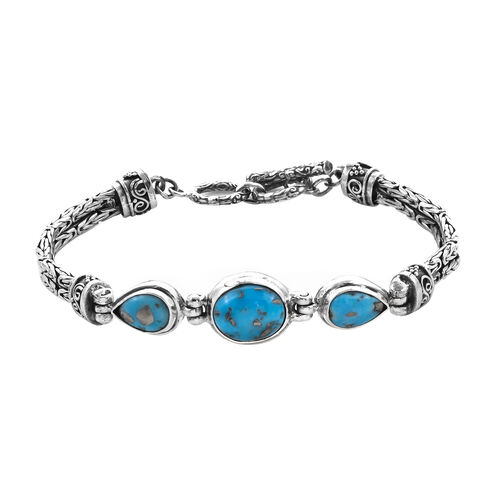 Royal Bali 8.75 Ct Persian Turquoise Borobudur Bracelet in Sterling Silver 23.36 Grams 7.5 Inch