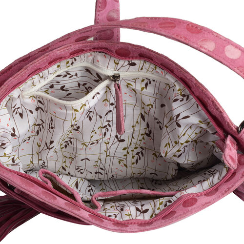Designer Inspired- 100% Genuine Leather RFID Blocker Polka Dot Pattern Fuchsia Colour Handbag with Fringes and External Zipper Pocket (Size 33X29X10 Cm)