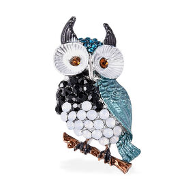 Multi Colour Austrian Owl Crystal Brooch