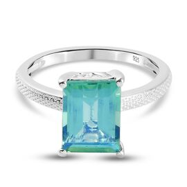 Peacock Triplet Quartz Solitaire Ring in Sterling Silver 2.17 Ct.