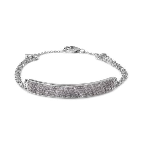 1 Ct Diamond Bracelet in Platinum Plated Sterling Silver 6.30 Grams 7.5 Inch