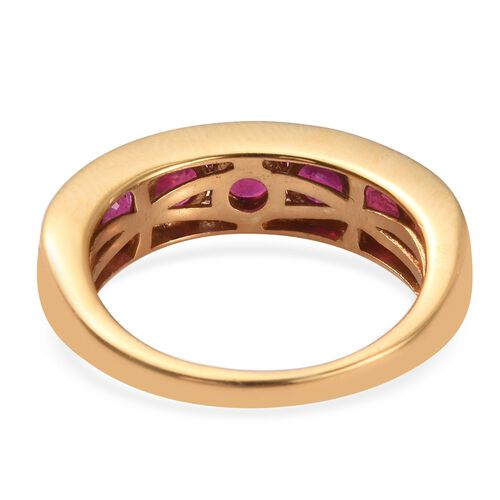 African Ruby Half Eternity Band Ring in 14K Gold Overlay Sterling Silver 2.50 Ct.