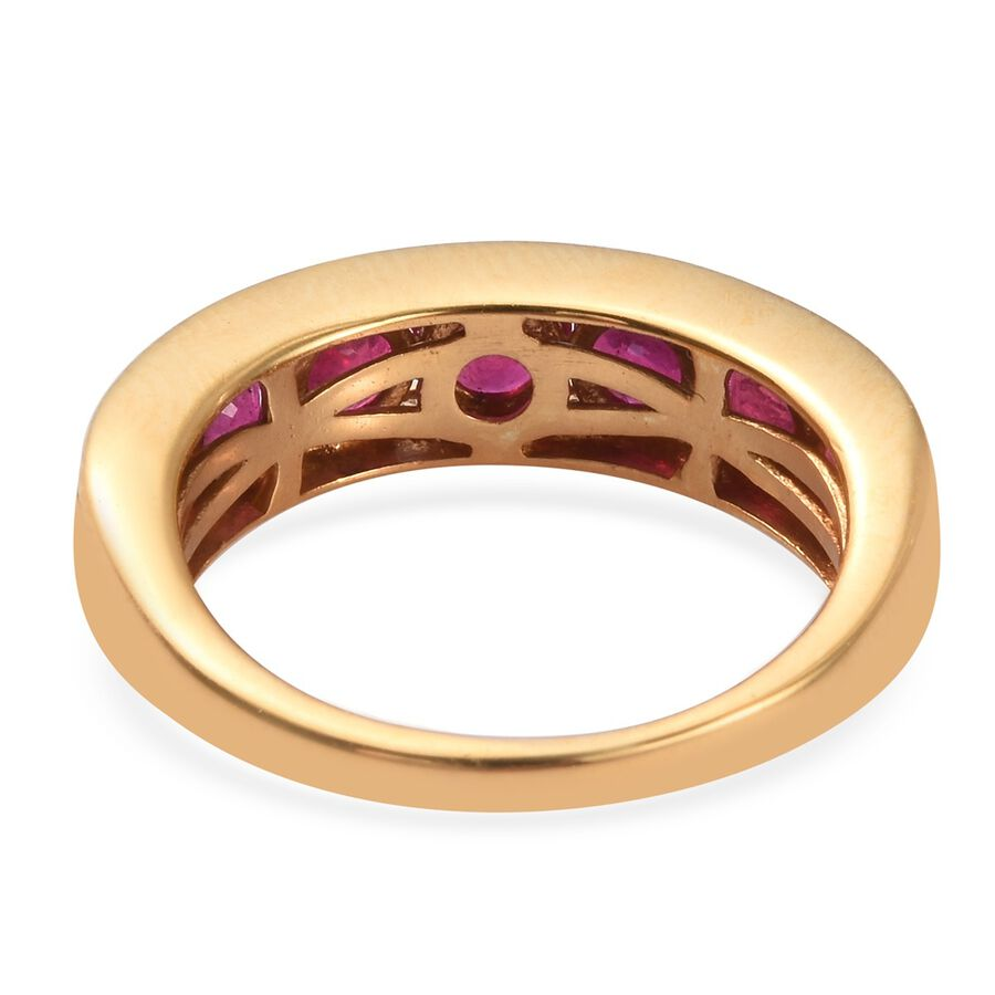 African Ruby Half Eternity Band Ring in 14ct Gold Plated Silver 2.50 Ct.