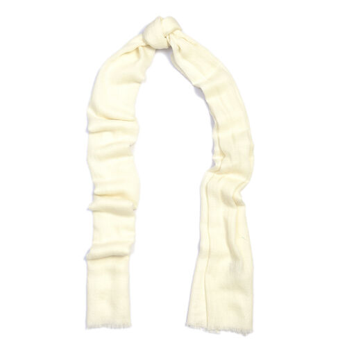 100% Cashmere Wool Off White Colour Scarf (Size 200x70 Cm)