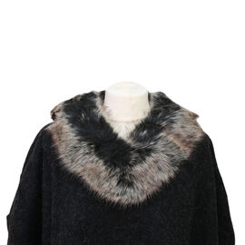 Dark Grey Faux Fur Collar Poncho with Asymmetrical Hem in Black (One Size)