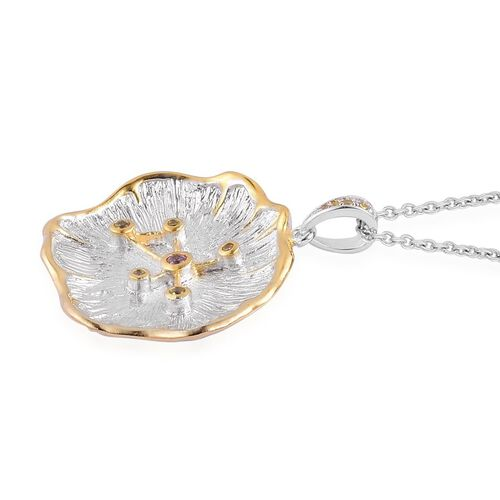 Designer Inspired AAA Simulated Citrine and Simulated Pink Sapphire ZODIAC Virgo Constellation Pendant With Chain in Silver Tone with Stainless Steel