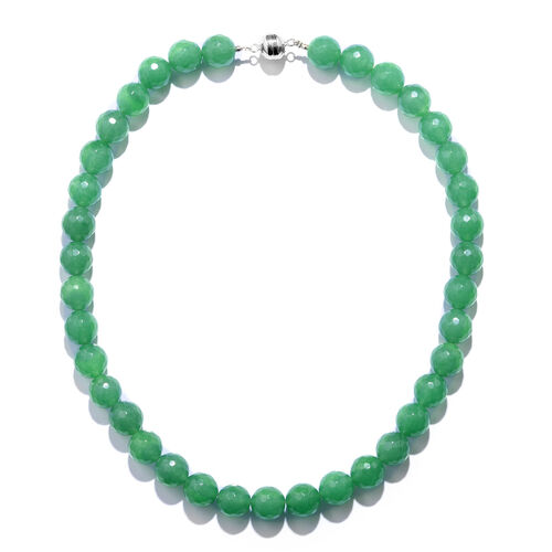 TJC Launch- Rare Size Verde Onyx (Rnd 12mm) Beads Necklace (Size 18) with Magnetic Clasp in Rhodium Overlay Sterling Silver 389.000 Ct