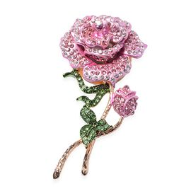 Multi Colour Austrian Crystal Rose Design Brooch in Gold Tone
