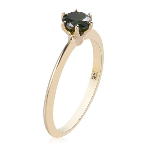 9K Yellow Gold SGL Certified Green Diamond (Rnd 5.5mm) (I3) Solitaire Ring 0.60 Ct.