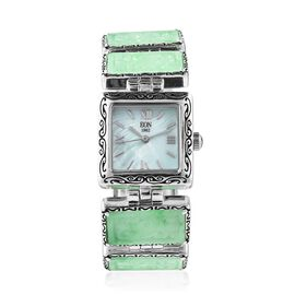 EON 1962 Swiss Movement Green Jade (Bgt) Water Resistant Watch in Rhodium Overlay Sterling Silver an