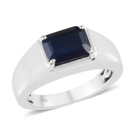 AA Kanchanaburi Blue Sapphire (Oct 9x7mm) Solitaire Ring in Platinum Overlay Sterling Silver 3.00 Ct
