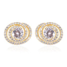 ELANZA Simulated Diamond Stud Earrings in Gold Plated Sterling Silver