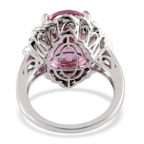 Kunzite Colour Quartz (Ovl 10.00 Ct), Diamond Ring in Platinum Overlay Sterling Silver 10.060 Ct.