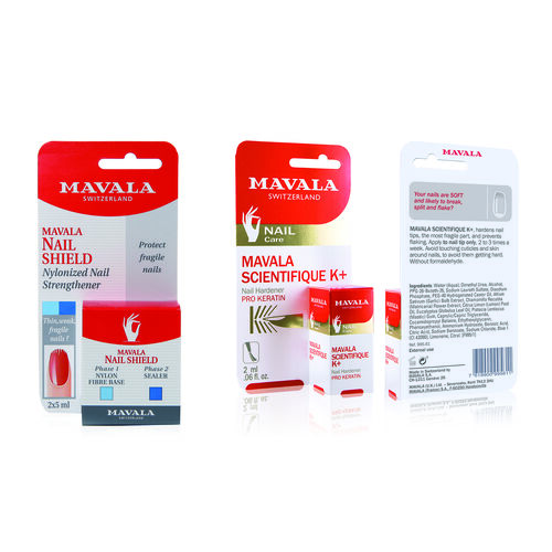 Mavala: Post Artificial Repair Kit - Scient K - 5ml, New Formula Nail Hardener - 5ml, 2 x 5ml Nail Shield and Quick Dry Top Coat - 5ml (With Free File & Cuticle Stick)