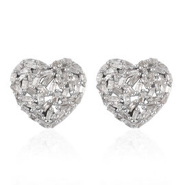 GP - Natural Diamond and Blue Sapphire Heart Stud Earrings (with Push Back) in Platinum Overlay Ster