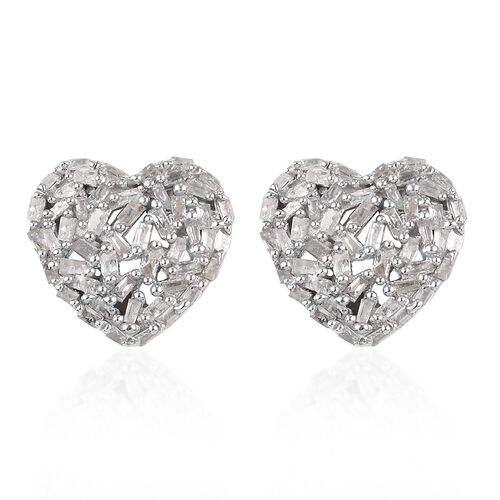 Valentine Special -GP - Natural Diamond and Blue Sapphire Heart Stud Earrings (with Push Back) in Pl