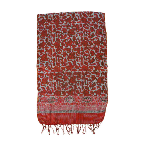 Red and Orange Floral Print 100% Silk Scarf (Size 150x45 Cm)