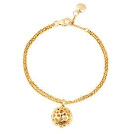 RACHEL GALLEY Rhodolite Garnet (Hrt) Bracelet (Size 7- 8) with Lattice Disc Charm in Yellow Gold Ove