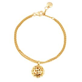 RACHEL GALLEY Rhodolite Garnet Bracelet with Lattice Disc Charm in Gold Plated Silver 4.94 Grams