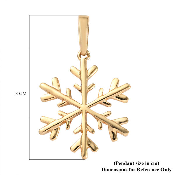 14K Gold Overlay Sterling Silver Snowflake Charm Pendant