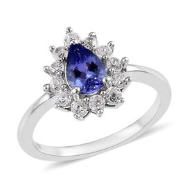 1.25 Ct Tanzanite and Zircon Halo Ring in Platinum Plated Silver