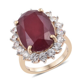 9K Yellow Gold AA African Ruby (Ovl 18x13 mm), Natural Cambodian Zircon Ring 26.000 Ct.