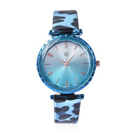 STRADA Japanese Movement Water Resistance Watch with Leopard Pattern Strap - Light Blue