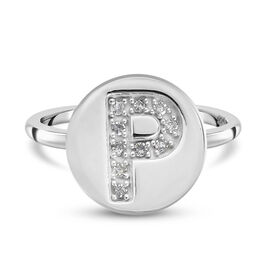 White Diamond Initial-P Ring in Platinum Overlay Sterling Silver