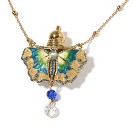 Blue and White Austrian Crystal (Rnd), Simulated Multi Gemstone Enamelled Butterfly Design Perfume B